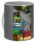 Multi-colored Benches On The Pedestrian Zone Coffee Mug
