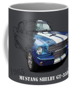 Mustang Shelby Gt-350, Blue And White Classic Car, Gift For Men Coffee Mug