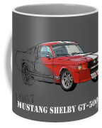 Mustang Shelby Gt500 Red, Handmade Drawing, Original Classic Car For Man Cave Decoration Coffee Mug