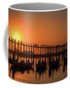 Myanmar. Taungthaman Lake. U Bein Bridge. Sunset. Coffee Mug