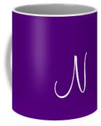 N In White Simple Script Coffee Mug