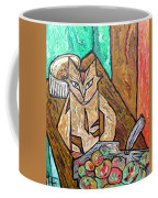 Naive Cat With Apples Coffee Mug