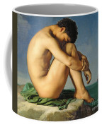 Naked Young Man Sitting By The Sea, 1836 Coffee Mug