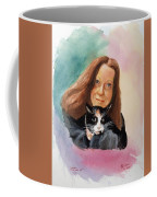 Nandi And Her Cat Coffee Mug by Charles Hetenyi