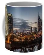 Nashville Broadway Street Shelby Street Bridge Downtown Cityscape Art Coffee Mug