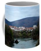 Neretva River And Mostar City And Hills With Mosque Minaret Bosnia Herzegovina Coffee Mug