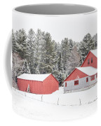 New England Farm With Red Barns In Winter Coffee Mug