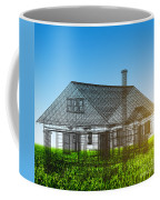 New House Wireframe Project On Green Field Coffee Mug