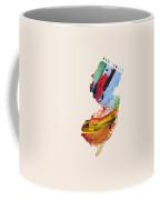 New Jersey Map Art - Painted Map Of New Jersey Coffee Mug
