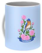 New York Bluebird And Pink Roses Coffee Mug