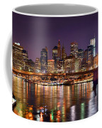 New York City Brooklyn Bridge And Lower Manhattan At Night Nyc Coffee Mug