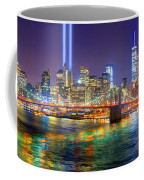 New York City Brooklyn Bridge Tribute In Lights Freedom Tower World Trade Center Wtc Manhattan Nyc Coffee Mug