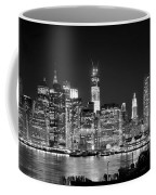 New York City Bw Tribute In Lights And Lower Manhattan At Night Black And White Nyc Coffee Mug