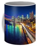 New York City Lights Blue Coffee Mug