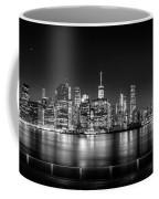New York City Skyline Panorama At Night Bw Coffee Mug