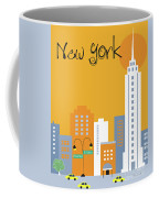 New York City Vertical Skyline - Empire State At Dawn Coffee Mug