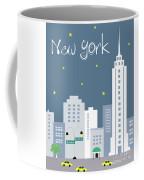 New York City Vertical Skyline - Empire State At Dusk Coffee Mug