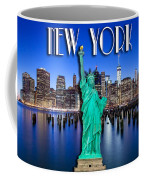 New York Classic Skyline With Statue Of Liberty Coffee Mug