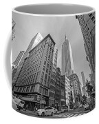 New York Fifth Avenue Taxis Empire State Building Black And White Coffee Mug