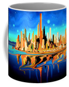 New York Skyline Blue Orange - Modern Art Coffee Mug
