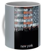New York Skyline Usa Flag 5 Coffee Mug