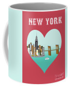 New York Vertical Skyline - Heart Coffee Mug