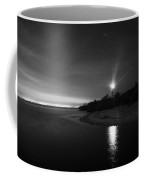 Night At The Sanibel Lighthouse In Black And White Coffee Mug