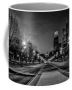 Night Falls On The City - Philadelphia - Black And White Coffee Mug