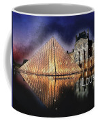 Night Glow Of The Louvre Museum In Paris  Text Louvre Coffee Mug