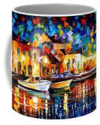 Night Riverfront - Palette Knife Oil Painting On Canvas By Leonid Afremov Coffee Mug