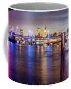 Night View Of Hungerford Bridge And Golden Jubilee Bridges London Coffee Mug