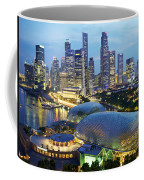 Night View Of The Esplanade And Central Coffee Mug by Justin Guariglia