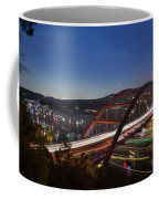 Nighttime Boats Leave Colorful Streaks As They Cruise Up And Down Lake Austin Below The 360 Pennybacker Bridge Coffee Mug