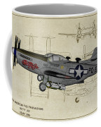 North American F-82b Twin Mustang - Profile Art Coffee Mug