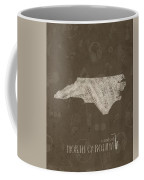 North Carolina Map Music Notes 3 Coffee Mug