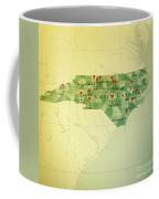 North Carolina Map Square Cities Straight Pin Vintage Coffee Mug