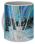 Northern Lights  And White Birch Trees Coffee Mug