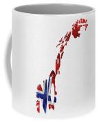 Norway Typographic Map Flag Coffee Mug