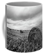 Nostalgia - Hay Bales In Field In Black And White Coffee Mug