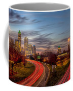 November Sun Setting Over Charlotte North Carolina Skyline Coffee Mug