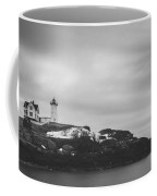 Nubble Lighthouse Overcast Bw Coffee Mug