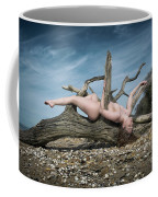 Nude Woman Entwined In Fallen Tree Coffee Mug