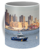 Nypd Patrol Boat In East River Coffee Mug