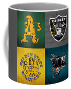 Oakland Sports Fan Recycled Vintage California License Plate Art Athletics Raiders Warriors Sharks Coffee Mug