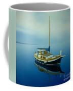 Coastal Wall Art, Ocean Blue, Fishing Boat Paintings Coffee Mug