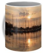 Of Yachts And Cormorants - A Golden Marina Morning Coffee Mug