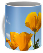 Office Art Prints Poppies Poppy Flowers Blue Skies Giclee Baslee Coffee Mug