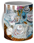 Oil Painting Still Life China Tea Set Coffee Mug