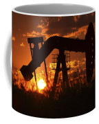 Oil Rig Pump Jack Silhouetted By Setting Sun Coffee Mug