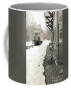 Old Caboose At Period Train Depot Winter Coffee Mug